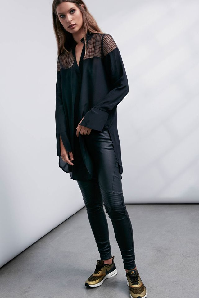 OnceWas: Wicker sheer yoke long line shirt and Fortune quilted stretch leather legging.