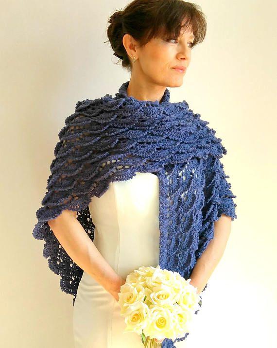 Chal azul oscuro abrigo de mezclilla azul encubrir nupcial