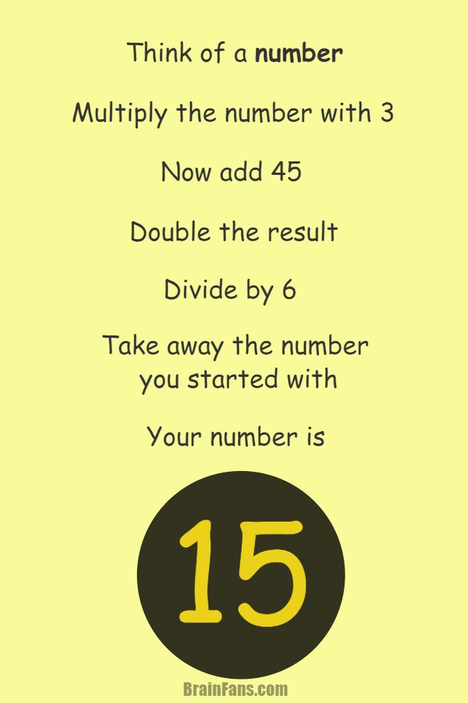 Brain teaser Picture Logic Puzzle think of a number