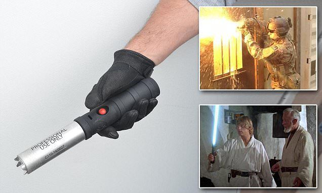 The lock-breaking LIGHTSABER: Air Force unveils hi-tech tool to let soldiers cut through metal bars and doors Lightsaber looking device can slice through steel bars in seconds Tech Torch is a handheld tool that generates a blade-shaped flame Creates hot metal vapor over 4,000 degree Fahrenheit  First responders will also be given the torch to use in the field