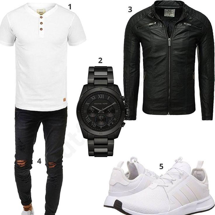 Cooles Herren-Outfit mit weißem Indicode Shirt, schwarzer Emporio Armani Uhr, Redbridge Lederjacke, destroyed Jeans und weißen Adidas Schuhen.
