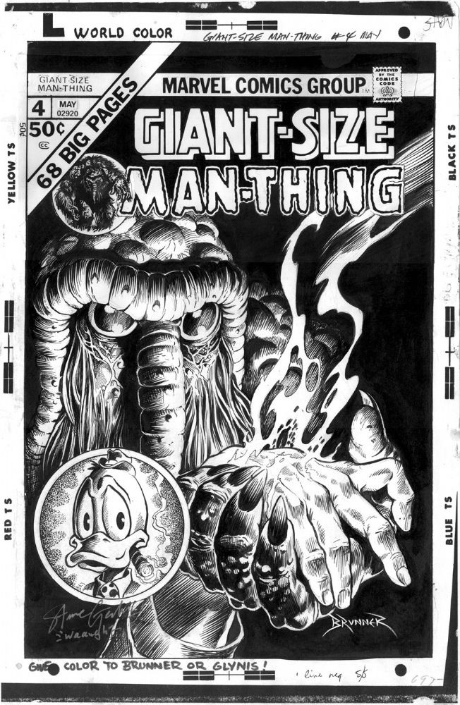Cover to Giant-Size Man-Thing n°4 by Frank Brunner.