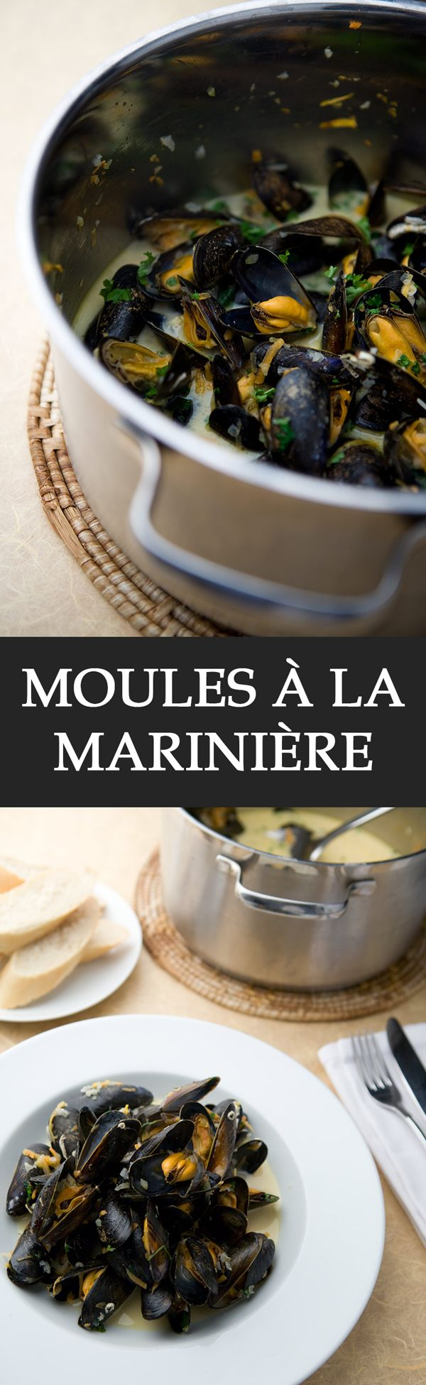 Moules à la marinière - Moules à la marinière are mussels which are gently flavoured with white wine, vegetables, vegetable stock and herbs like parsley. An incredibly simple but elegant recipe that's a hit in French and Belgian cuisine. You can try other versions too. Pair with a nice dry white wine and some fresh baguette. Enjoy.  #valentinesday #valentinesdaydinner #datenight #love #mussels #seafood