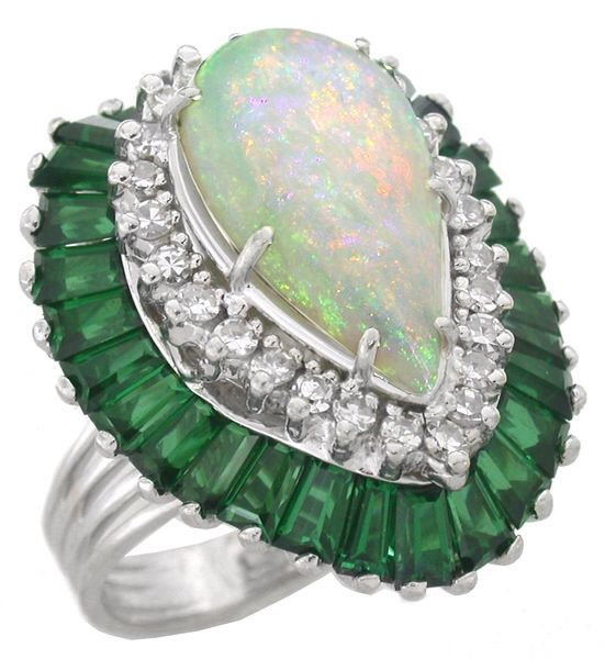 1960s Opal 1.00ct Round Cut Diamond 2.90ct Baguette Cut Green Tourmaline 14k White Gold Cocktail Ring