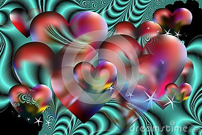 Fantastic image of love with hearts, stars and fractal futuristic image on red and blue hues.