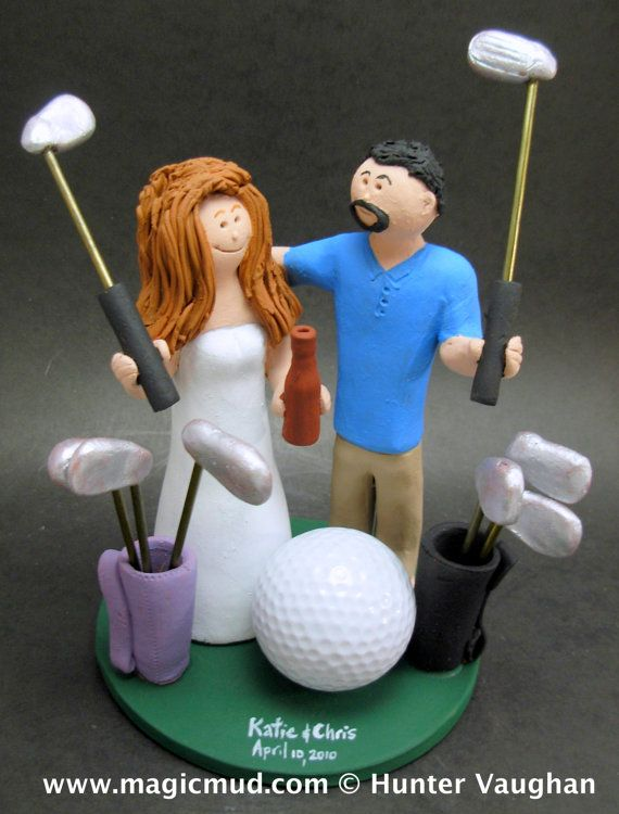 Golfer's Wedding Cake Topper, Golfing Wedding Cake Topper, Golfing Bride Wedding Cake Topper, Golf Destination Wedding Cake Topper    This photographed listing is but an example of what we will create for you....simply email or call toll free with your own info and pictures of yourselves, and we will sculpt for you a treasured memory from your wedding!    $235 #magicmud 1 800 231 9814 www.magicmud.com