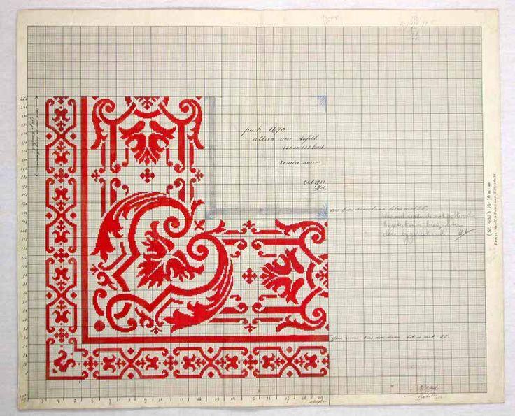 Patroontekeningen tafellaken en servet (voor Restaurant Fürstenberg) '16 puntige ster' (dessin 1670)