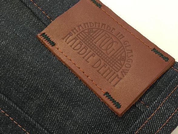 rabbie denim leather label