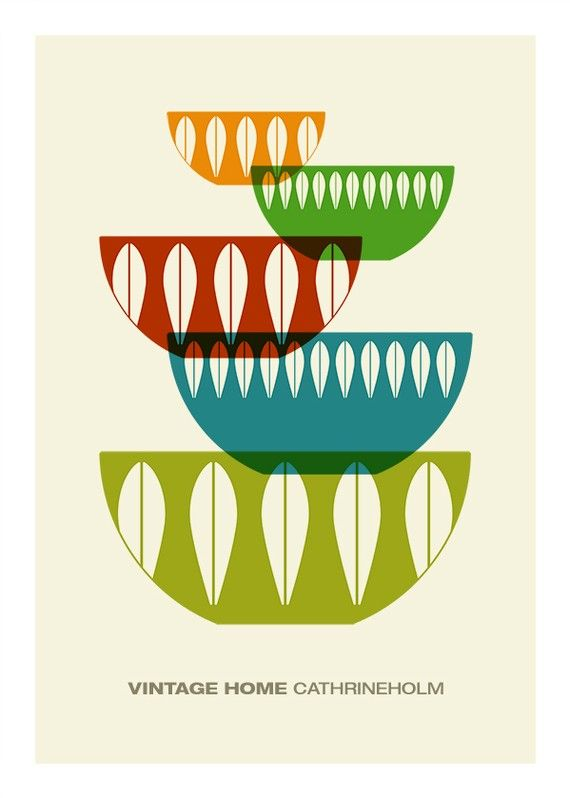 Cathrineholm poster print Mid century modern vintage by yumalum
