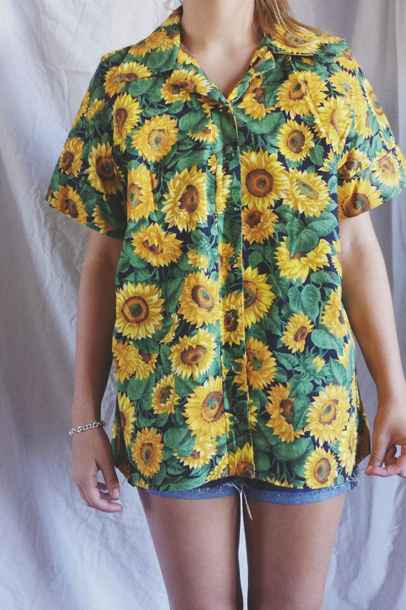 Vintage Sunflower Button Up on Etsy. women   teen   retro   american   apparel   sun   flowers   summer   floral   trends   college   chic   grunge   style   fashion   bohemian   girl   thrift   store   shop   thrifting