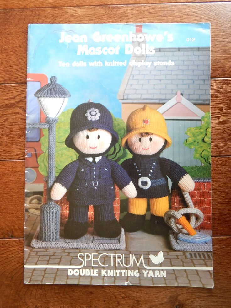 Dolls & Display Stands Knitting Patterns by Jean Greenhowe's Mascot Dolls/ Basic Doll Measures 9.75 Inch/policeman, santa, sailor, fireman by RedWickerBasket on Etsy