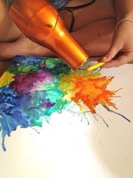 melting crayons using a blow dryer