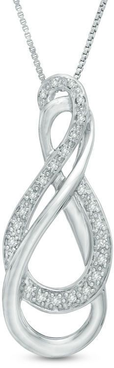 Zales 1/8 CT. T.W. Diamond Double Row Infinity Pendant in Sterling Silver