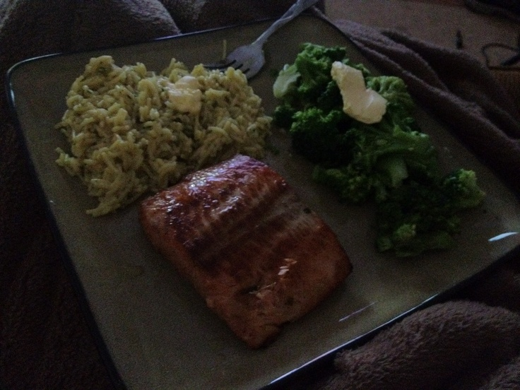 Bourbon Marinated Salmon with Fried Rice and Steamed Broccoli