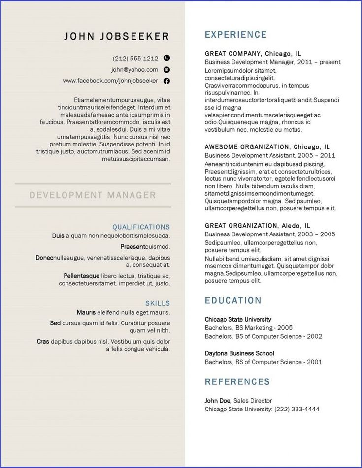 resume template canada free
