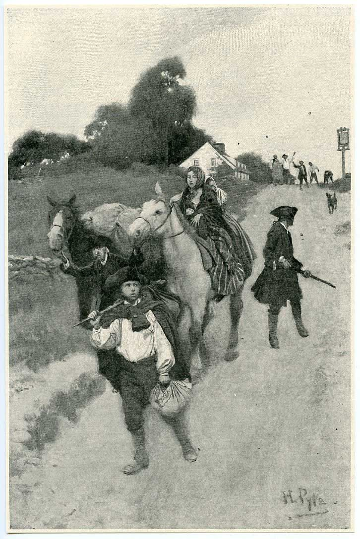 """""""Tory Refugees on their way to Canada"""" by Howard Pyle (1901)"""