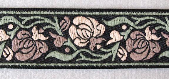 Jacquard Trim. Art Nouveau. Rose, Sage, Mauve & Black