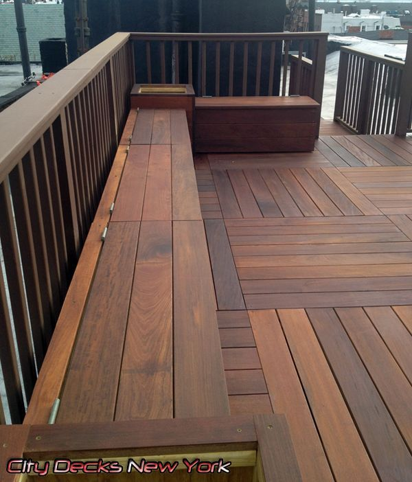Example of built in seating. Brazilian IPE Wood Deck by City Decks New York, LLC www ...