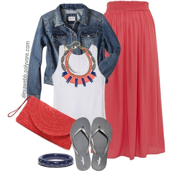 """""""Plus Size - Summer Coral Skirt"""" by alexawebb on Polyvore"""
