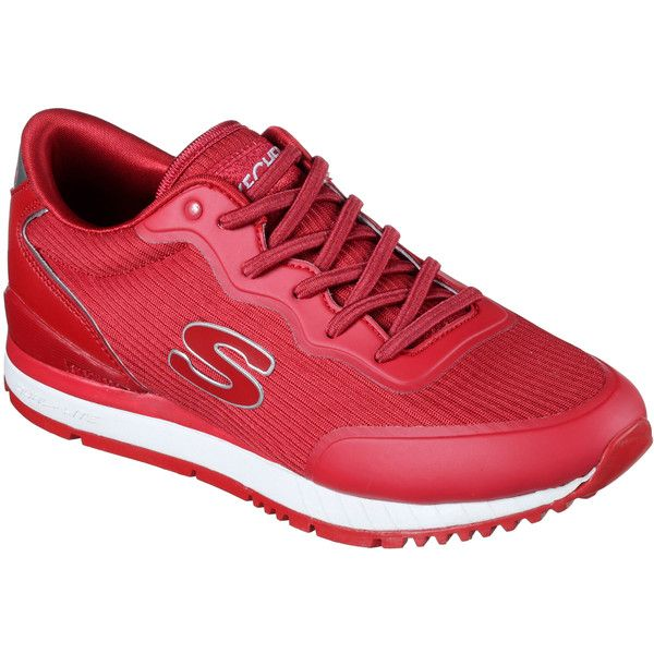 Skechers Women's Sunlite Red - Skechers ($60) ❤ liked on Polyvore featuring shoes, red, red shiny shoes, red shoes, red lace up shoes, retro style shoes and skechers footwear