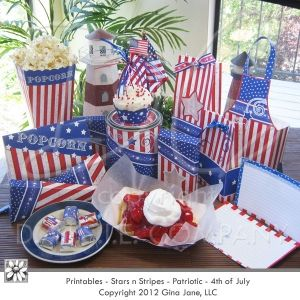 Printable - Do it yourself, Patriotic, Boy Scouts, Cub Scouts - Red, White and Blue, Stars and Stripes theme for decorating, party favors, court of honor treats, gifts for leaders, quick gift ideas, candy bar wrappers, treat boxes, cup cake wrappers and more! - Gina Jane Designs for DAISIECOMPANY.com - Download, print, cut and create!