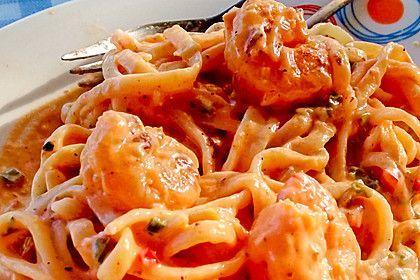 Linguine mit Garnelen in Knoblauch-Chili-Sauce 1