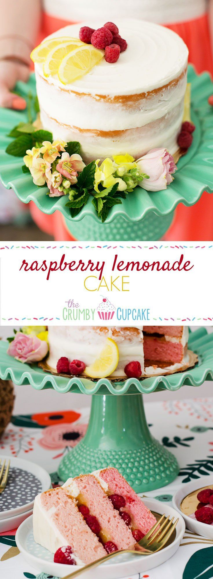 Why not surprise your friends and guests with a sweet & tart Raspberry Lemonade Cake for a #SummerFloralParty! (Favorite Cake Friends)