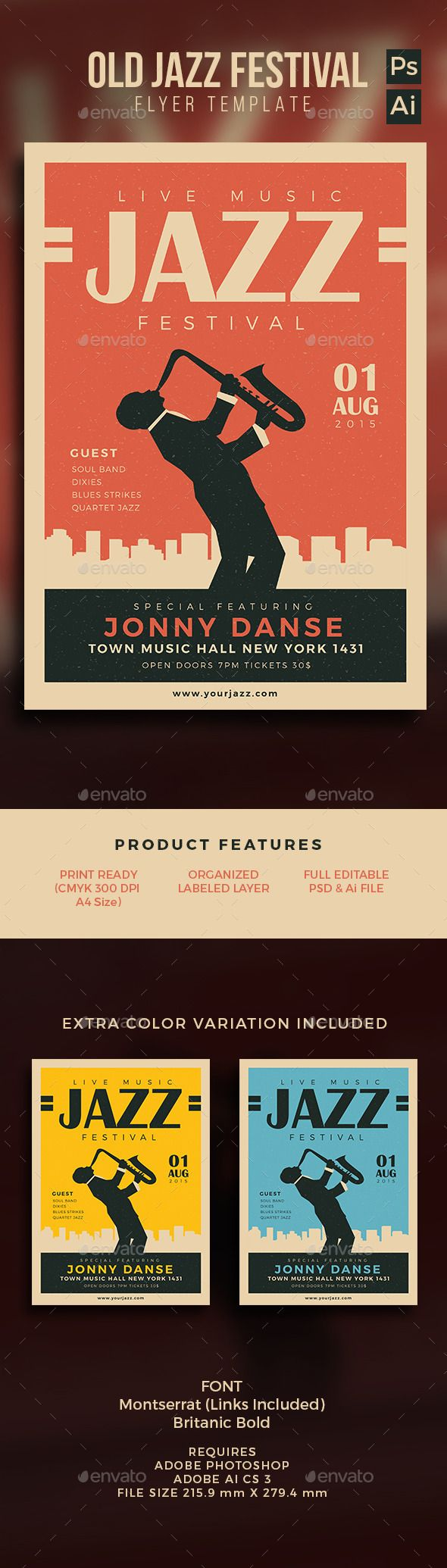 Old Jazz Festival Flyer Template PSD #design Download: http://graphicriver.net/item/old-jazz-festival-flyer/12866487?ref=ksioks