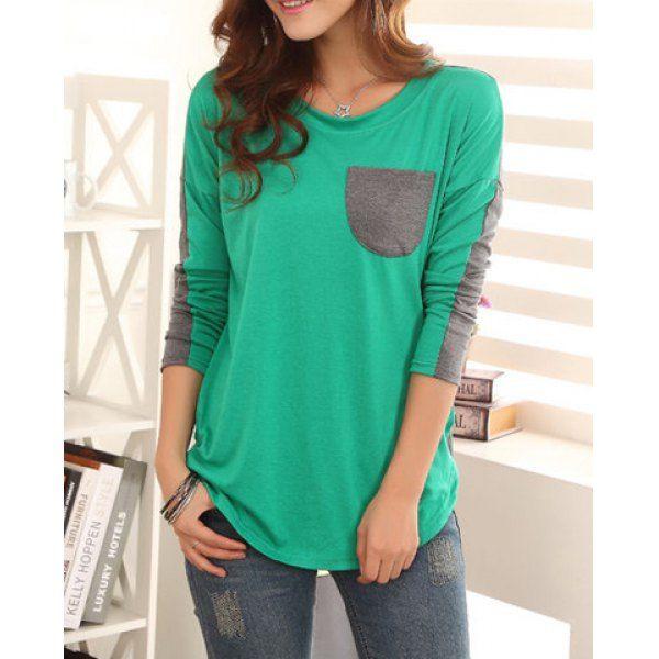 Color Block Ladylike Style Pocket Splicing Bat-Wing Sleeves Women's T-shirt | TwinkleDeals.com
