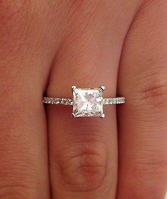 1 62 Ct Princess Cut D SI1 Diamond Solitaire Engagement Ring 14k White Gold   eBay