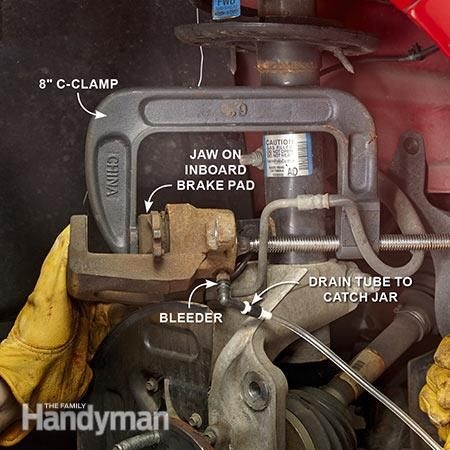 The next step in the brake job is retracting the caliper piston. How to Change Front Brake Pads: http://www.familyhandyman.com/automotive/car-brakes/how-to-change-front-brake-pads/view-all