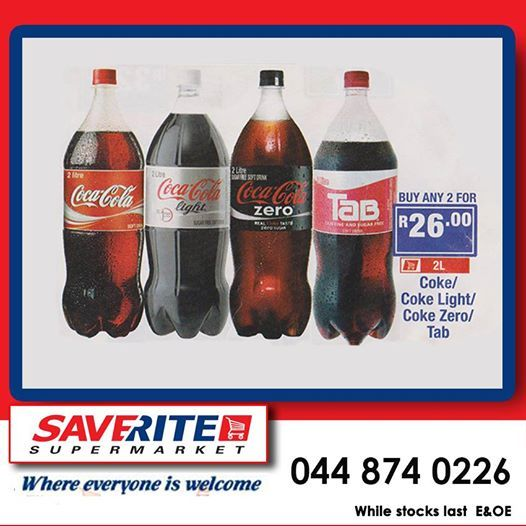 Going to celebrate today? Then here is a special offer you won't want to miss out on. Buy any 2 of these 2L Cold drinks for only R26.00. Only at Saverite Supermarket York Street. #supermarket #grocerysavings
