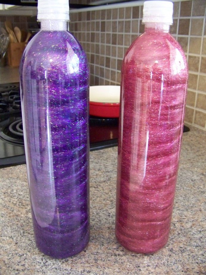 Time out bottles a.k.a. sensory bottles - I used Elmer's glitter glue,