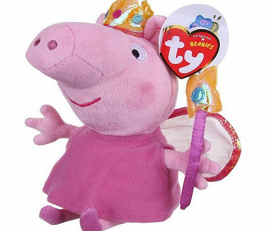 Peppa Pig TY Beanies Peppa Pig Princess Peppa Soft Toy Your Princess Peppa Soft Toy is the cutest piglet in the kingdom.Shes made of high quality material and comes with fairy wings and magic wand.This TY Beanie is a great gift for all ages. Please note:  http://www.comparestoreprices.co.uk/soft-toys/peppa-pig-ty-beanies-peppa-pig-princess-peppa-soft-toy.asp