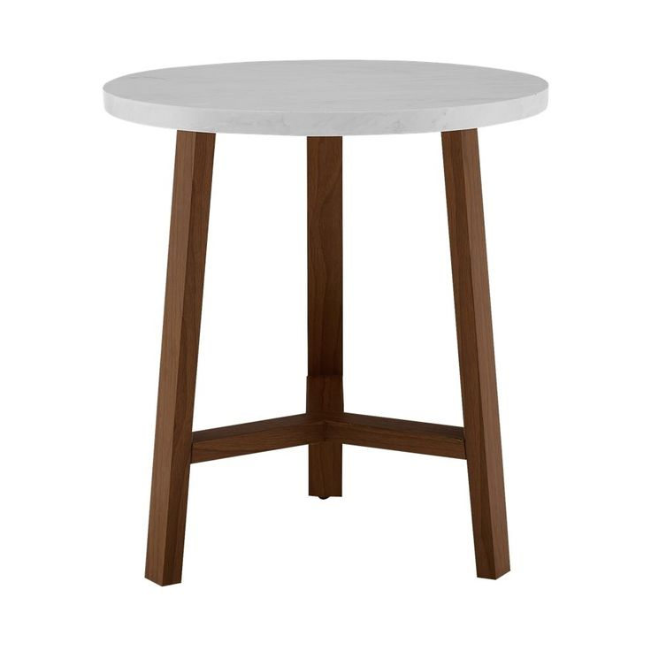 Walker Edison 20 Inch Round Side Table In Faux White Marble And Acorn Reviews Furniture Macy S White Round Side Table Round Side Table White Side Tables