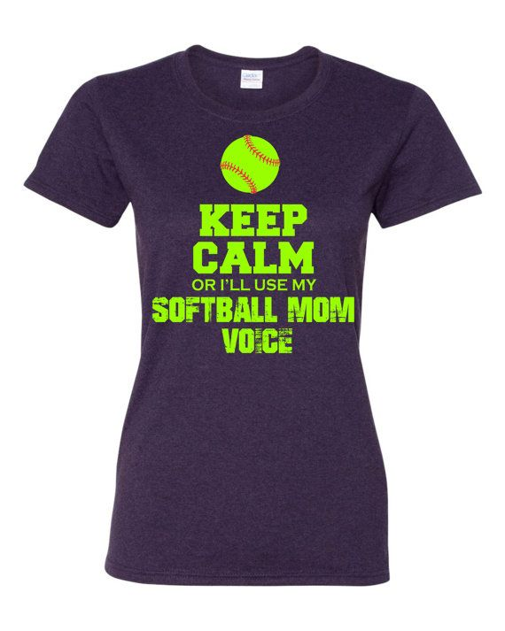 Keep Calm or I'll use my Softball Mom Voice custom t shirt softball green and red design Free Shipping HAHAHA