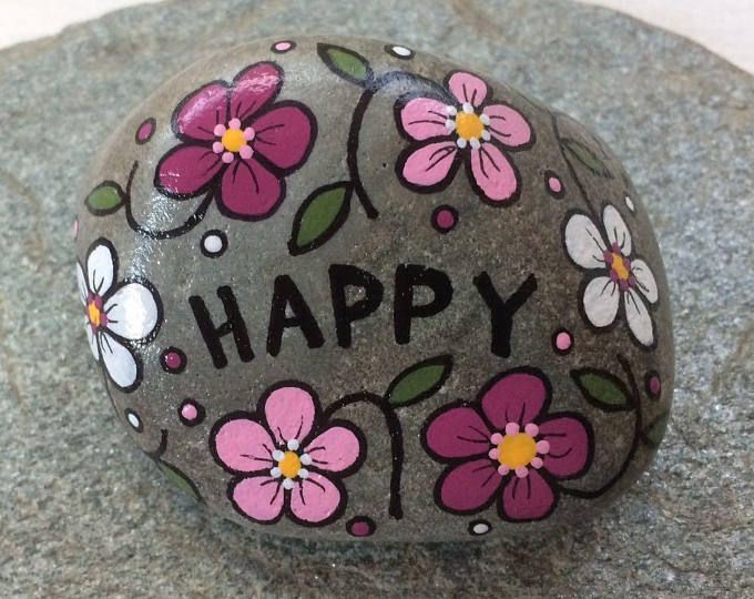 Happy Rock – HAPPY – Hand-Painted Beach River Rock Stone – pink rose white posies posy flower cosmos petunia