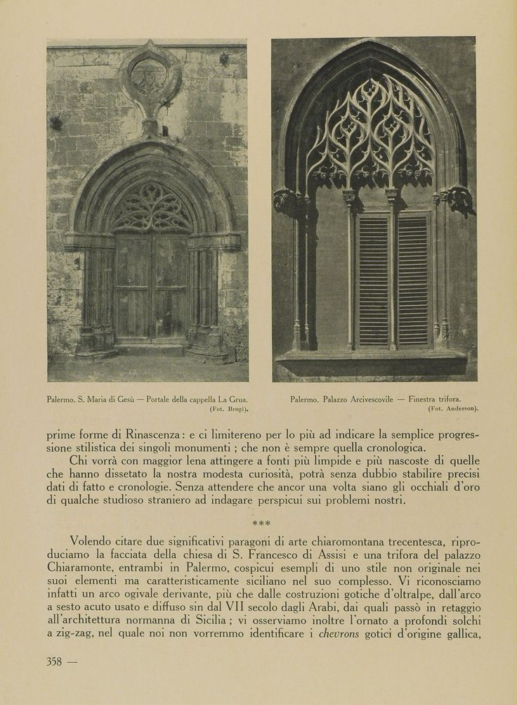 Fotografia del portale della Cappella La Grua Talamanca (nel cimitero di Santa Maria di Gesù) in ''L'architettura siciliana nella decadenza gotica e nel primo Rinascimento'', 1932 (foto: Brogi)