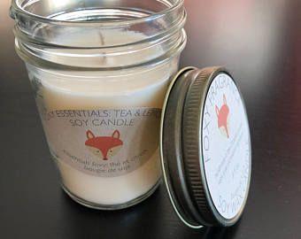 Handmade Tea & Lemon Essential Oil Soy Wax Candle