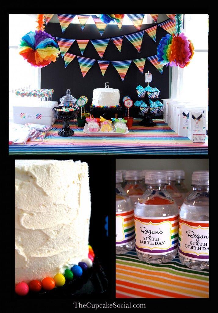 Rainbow party: Rainbow Birthday Parties, Theme Parties, Rainbows Theme, Rainbows Birthday Parties, Rainbows Parties, Rainbows Banners, Parties Ideas, Party Ideas, Rainbow Parties