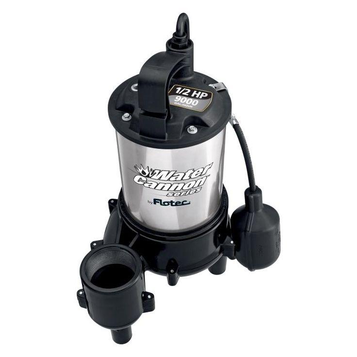 Flotec FPSE9000 Submersible Sewage Ejector Pump, 1/2 HP, 115 V