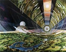 This is from Wikipedia: The O'Neill cylinder is a space settlement design proposed by American physicist Gerard K. O'Neill in his 1976 book The High Frontier: Human Colonies in Space. He proposed the colonization of space for the 21st century, using materials extracted from the Moon and later from asteroids.