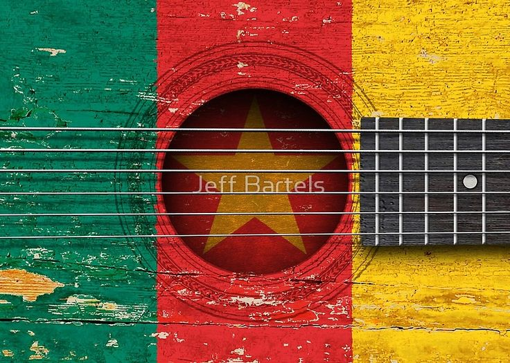 Acoustic Guitar Cameroon Flag