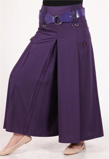 Brn Kemerli Pantolon Etek Modelleri Mürdüm 2005