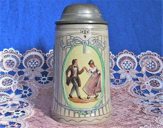 1900s Antique German Beer Stein stoneware ceramics mold 735