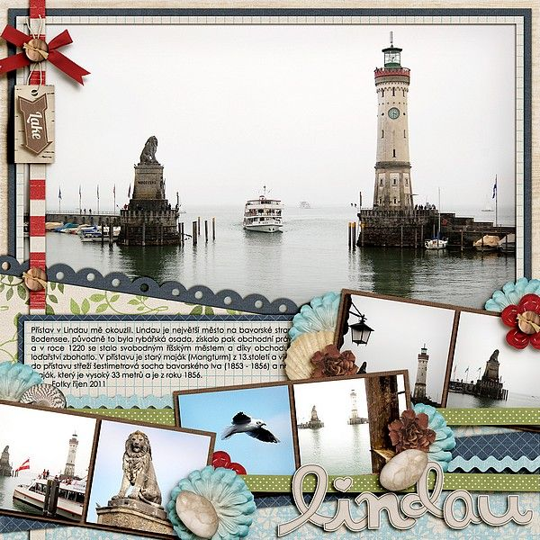 Love the use of a photo in the background, with numerous others? Layout by Lindau Digital Scrapbooking travel layout
