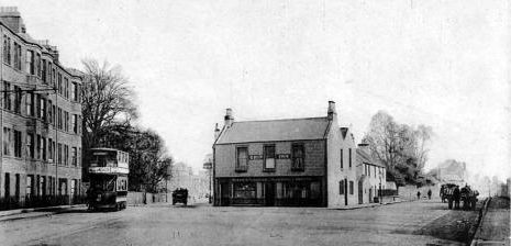 Old photograph of houses and cottages in Musselburgh, East Lothian, Scotland