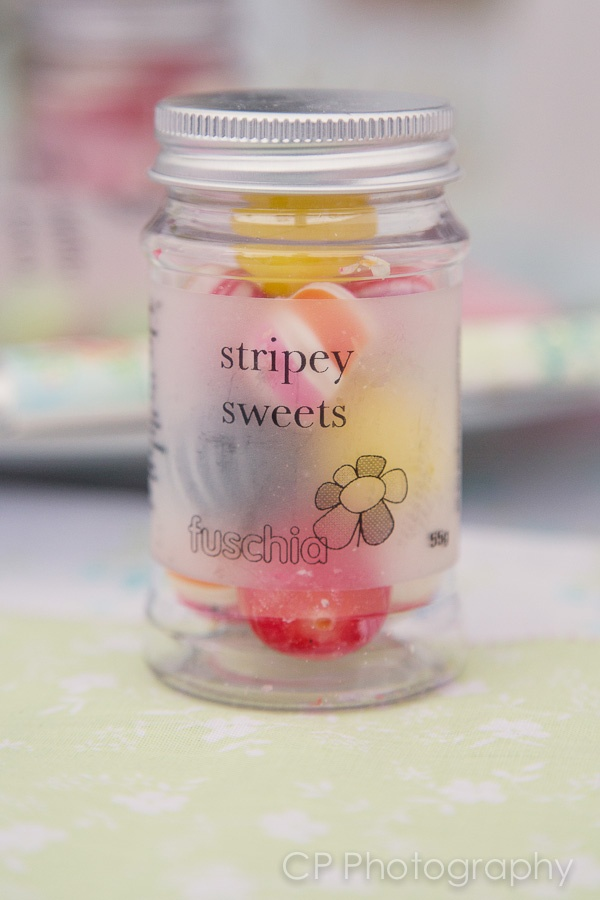 Stripey fruit sweets candy jar great for table favours for your party.  £2.99 From the Fuschia Boutique at www.fuschiadesigns.co.uk.