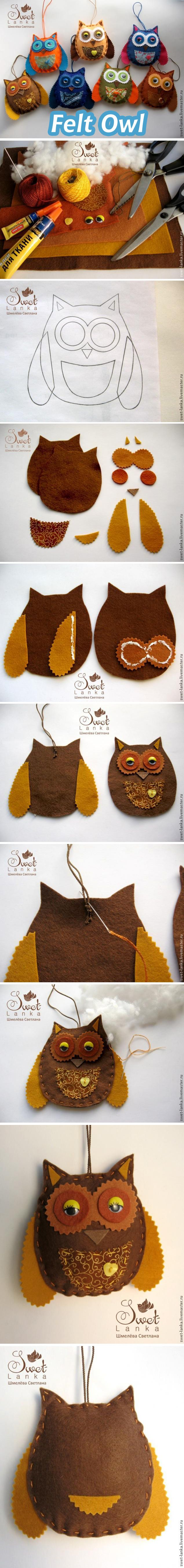 How to make a felt owl / Мастер-класс: сова из фетра #diy #howto #tutorial