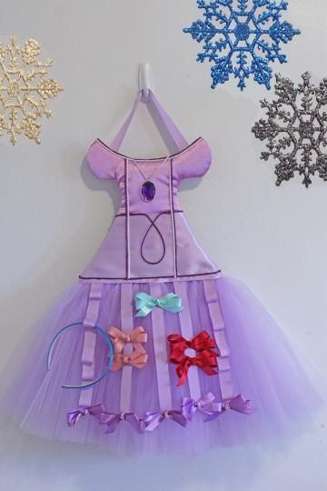 Hair Bow Organizer Bow Storage Sofia The First Dress Wall Hanging Bow Holder, Lavender Girls Room Decor.